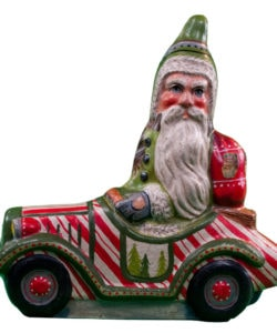 Santa in Candy Cane Car