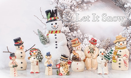 We're offering a selection of Chalkware Snowman within our Retail Gallery this winter.
