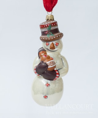 Pearlized Snowman with Gingerbread Ornament, VFA Nr. OR17404