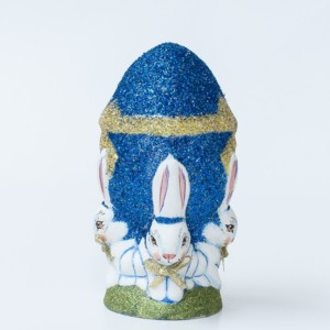 One Of A Kind Chalkware Spring Rabbits Holding Glittered Egg, VFA Nr. 17094