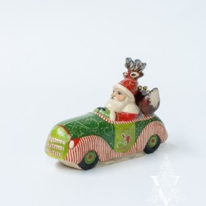 Ornate Santa Driving Christmas Car with Deer in Back Seat, VFA Nr. 19050