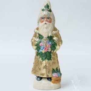 Santa in Gold with Shiny Brite Ornaments and Beading, VFA Nr. 19080